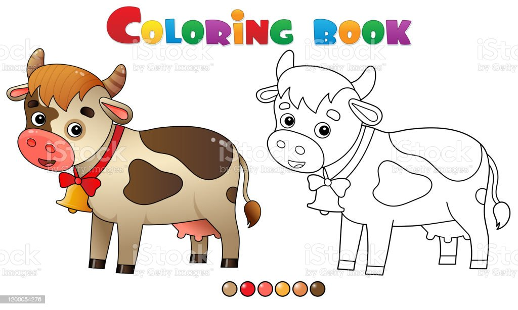 Coloring Page Outline Of Cartoon Cow With Bell Farm Animals Coloring Book  For Kids Stock Illustration - Download Image Now - IStock