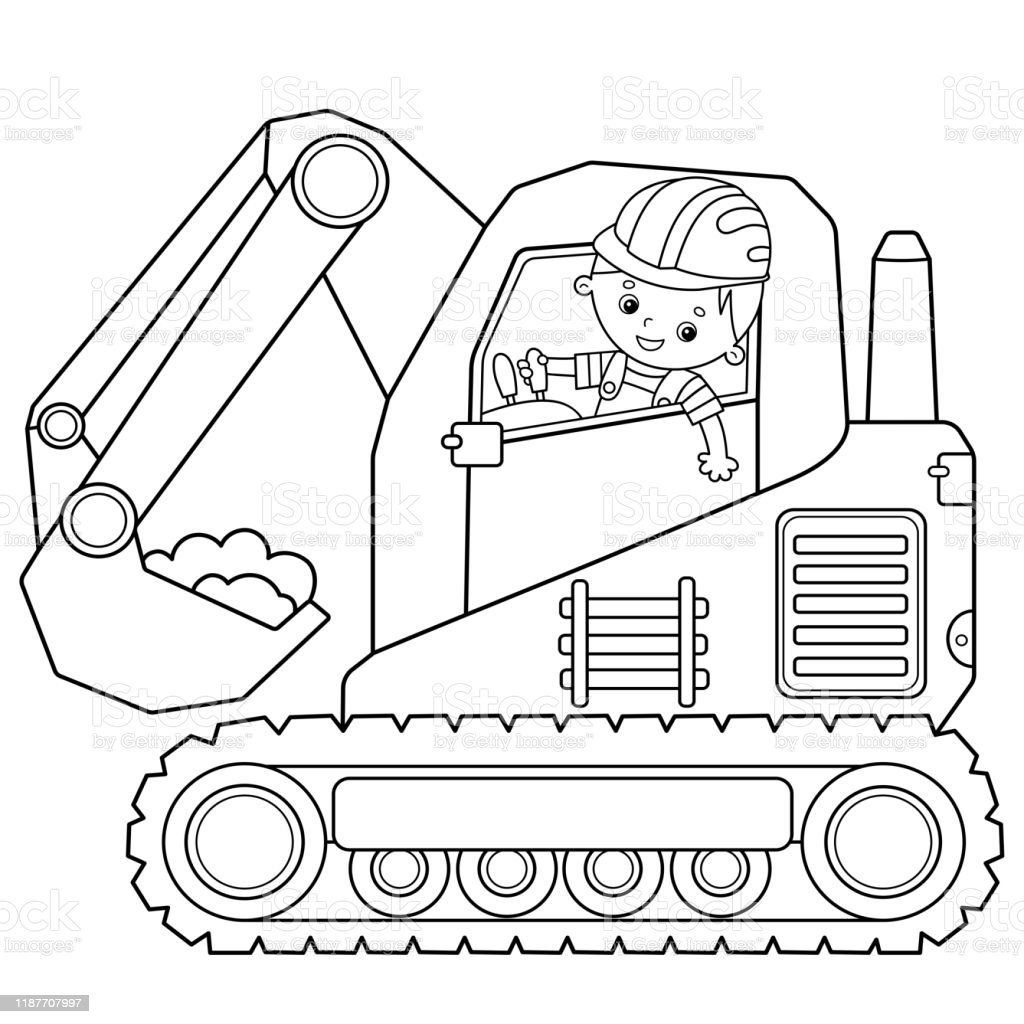 Coloring Page Outline Of Cartoon Crawler Excavator Construction Vehicles Coloring Book For Kids Stock Illustration Download Image Now Istock