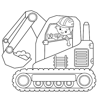 Coloring Page Outline Of cartoon crawler excavator. Construction vehicles. Coloring book for kids.