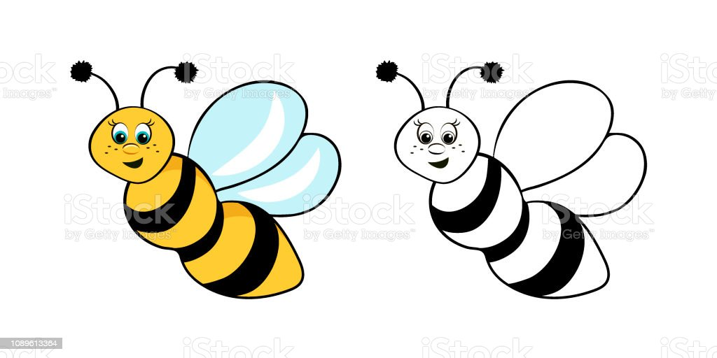 Coloring Page Outline Of Cartoon Cute Bee Coloring Book For ...