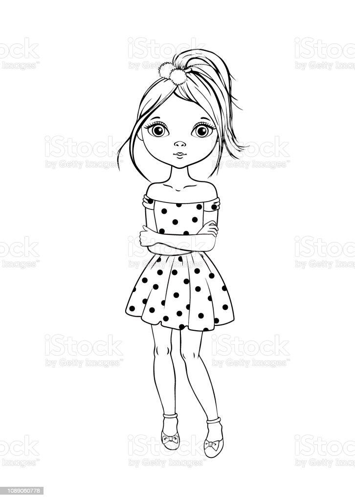 Coloriage De Fille Avec Une Robe.Apercu De La Page De Dessin Anime Mignon Jeune Fille En Robe