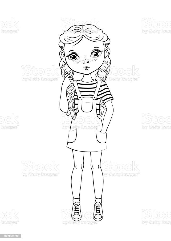 Coloriage Princesse Tresse.Colorier Le Contour De La Page De Dessin Anime Jolie Fille Avec