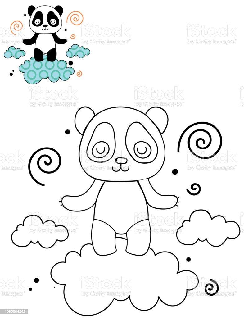 Vetores De Colorir O Esboço De Página De Panda Bonito Dos