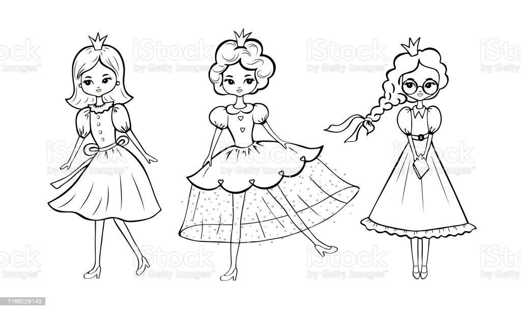 Ilustración De Esquema De Página Para Colorear De Princesas