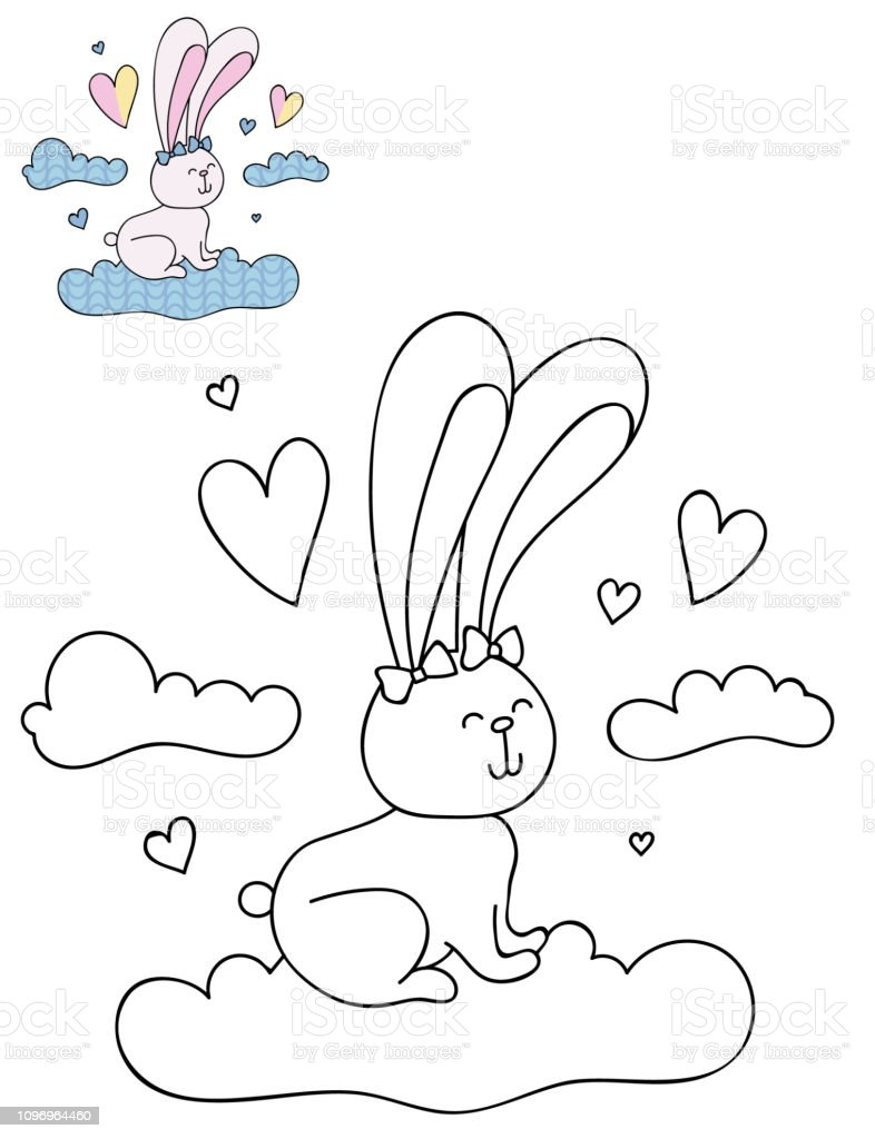Coloring Page Outline Of Cartoon Cute Rabbit On A Cloud Stock ...