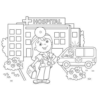 Coloring Page Outline Of cartoon doctor near the hospital