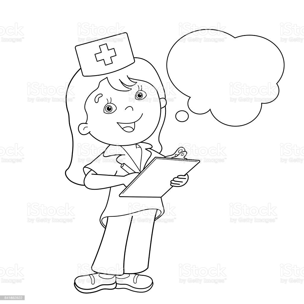 coloring page outline of cartoon doctor stock vector art 541852522