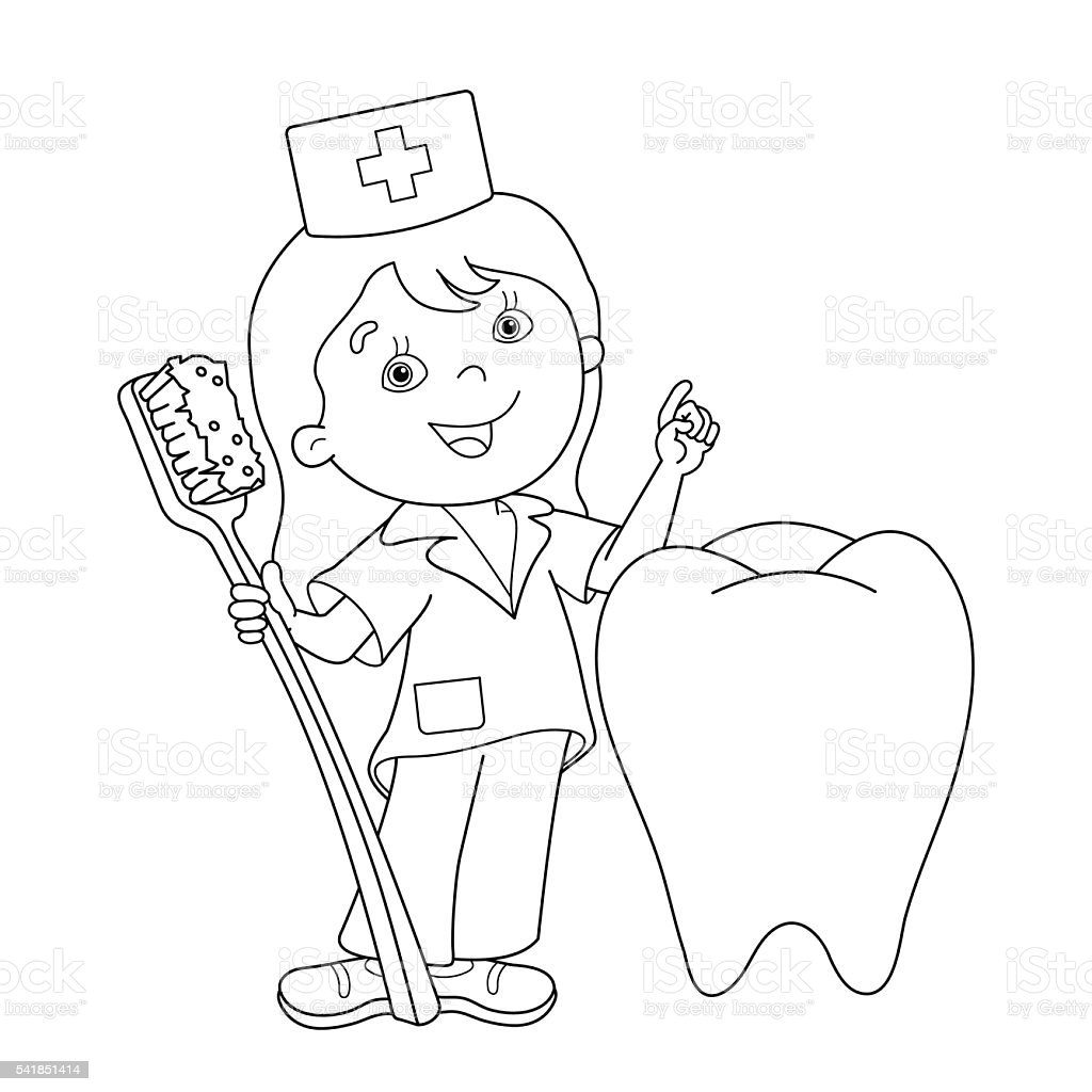 Coloring Page Outline Of Cartoon Doctor With A Toothbrush Stok