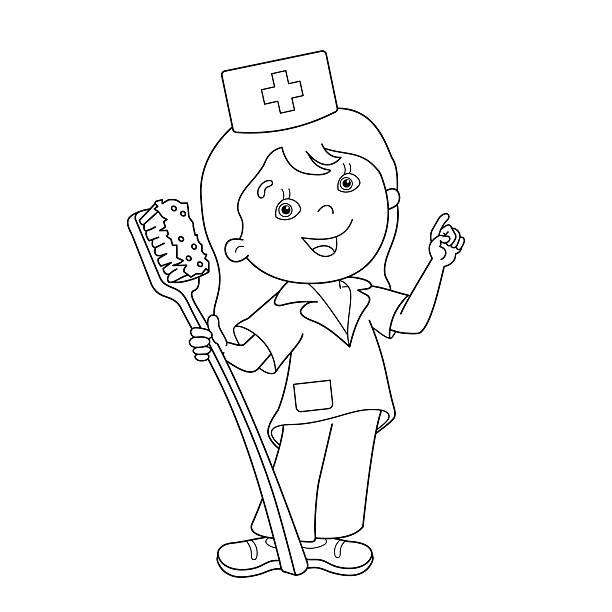 Top 60 Coloring Nurse For Children Profession Illustration