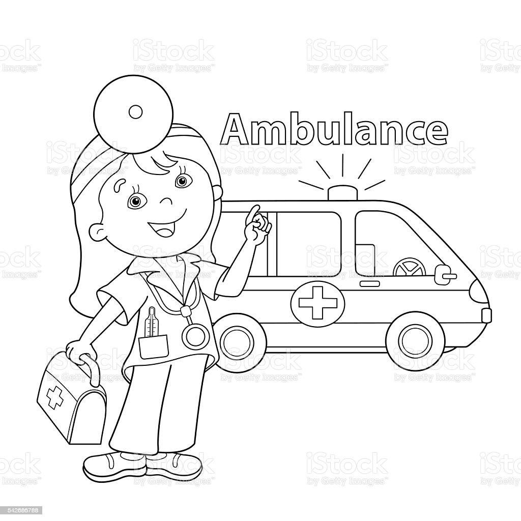 Coloring Page Outline Of Cartoon Doctor With Ambulance Car stock ...