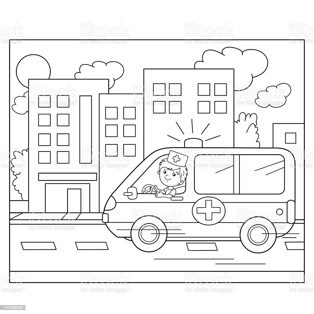 塗り絵ページの輪郭カットイラスト医師救急車車 お絵かきのベクター