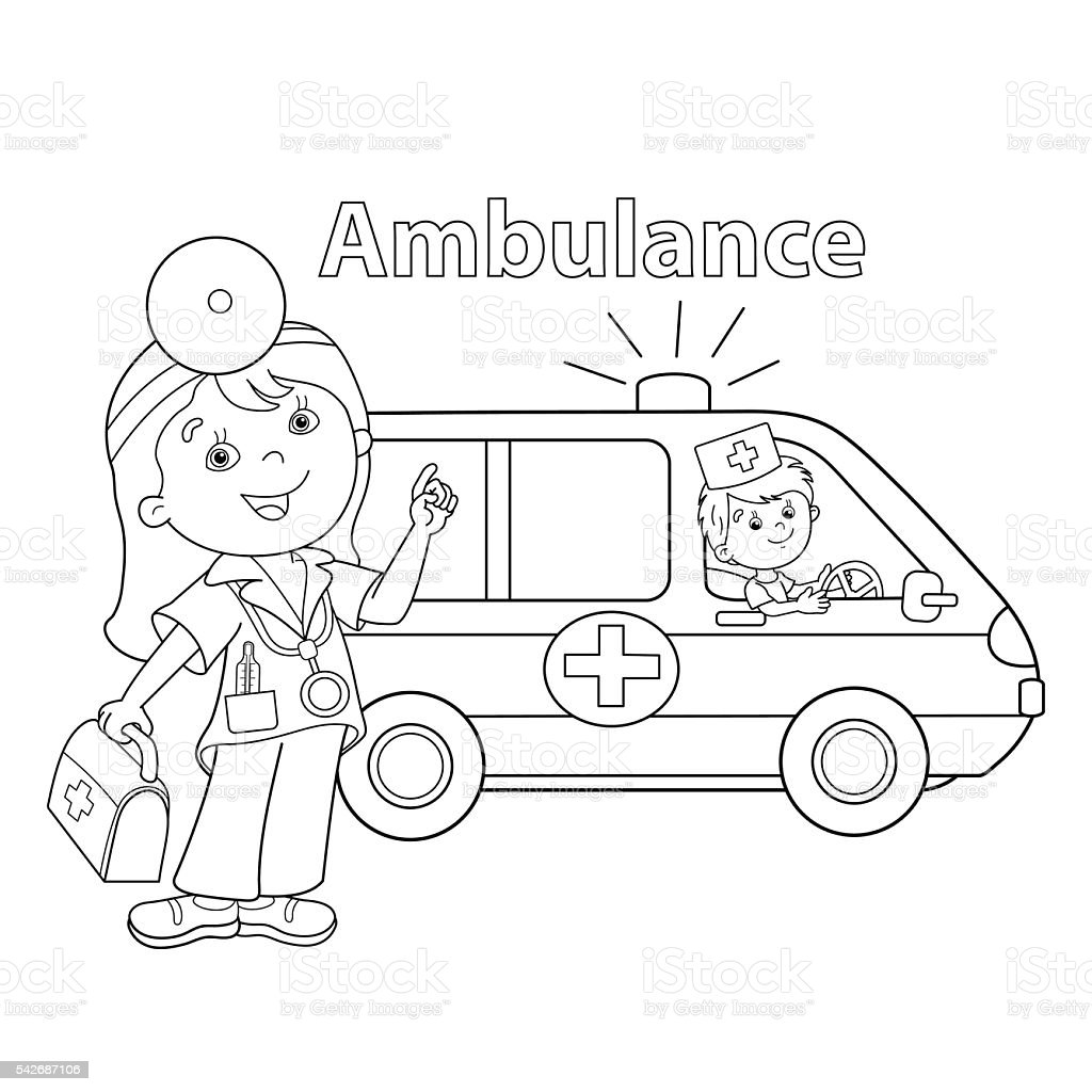 coloring page outline of doctor with ambulance car