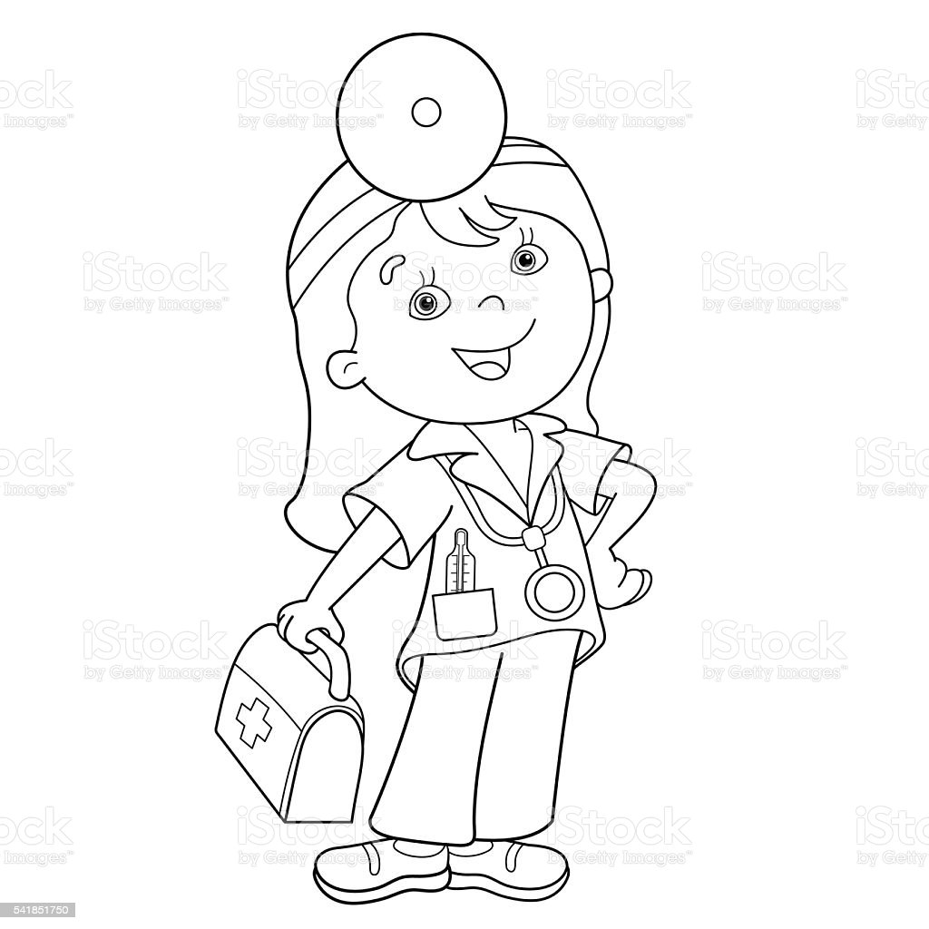 Coloring Page Outline Of Cartoon Doctor With First Aid Kit Stok