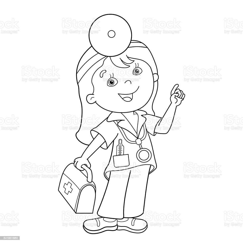 Coloring Page Outline Of Cartoon Doctor With First Aid Kit Stock  Illustration - Download Image Now - IStock