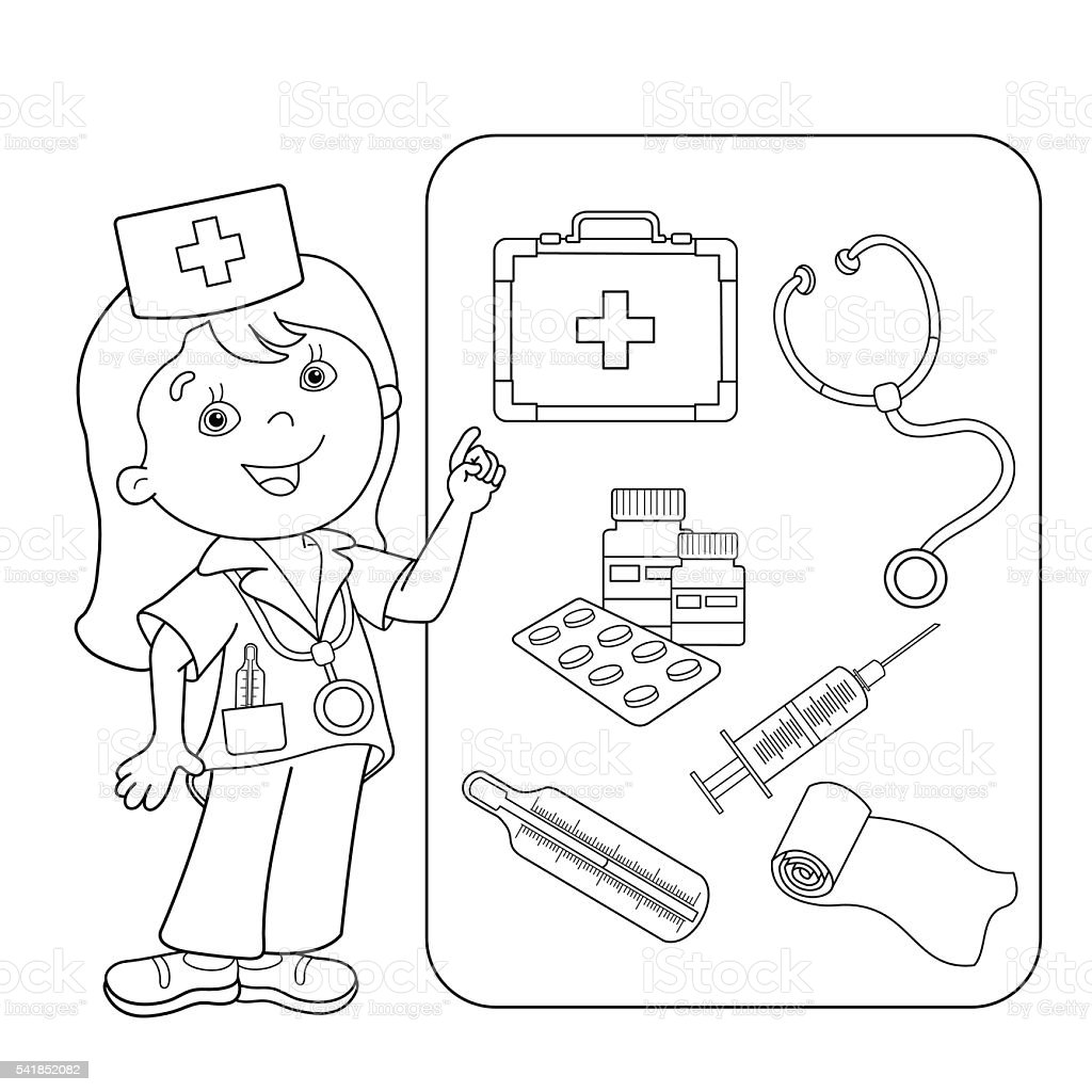 - Coloring Page Outline Of Cartoon Doctor With First Aid Kit Stock  Illustration - Download Image Now - IStock
