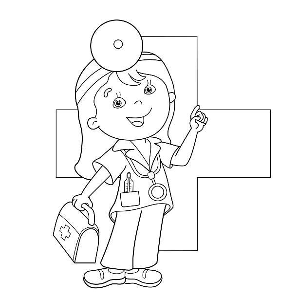 Vectores de Figura Del Médico Para Colorear Libro y Illustraciones ...