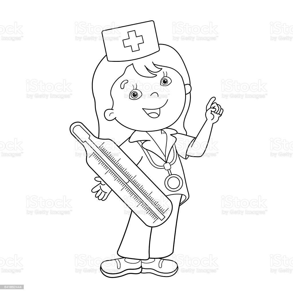 Ilustración De Página Para Colorear Con Contorno De Dibujos Animados Con Termómetro Médico Y Más Vectores Libres De Derechos De Asistencia Sanitaria Y