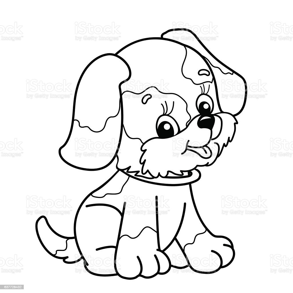 coloring in pages of dogs | Coloring Page Outline Of Cartoon Dog Stock Illustration ...