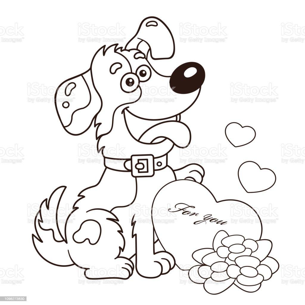 Verrassend Kleurplaat Pagina Overzicht Van De Hond Van De Cartoon Met Bloemen PI-28