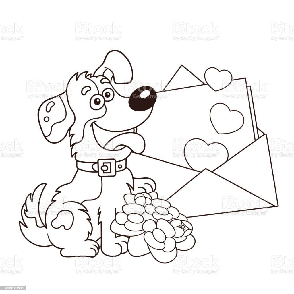 coloring page outline of cartoon dog with flowers and letter