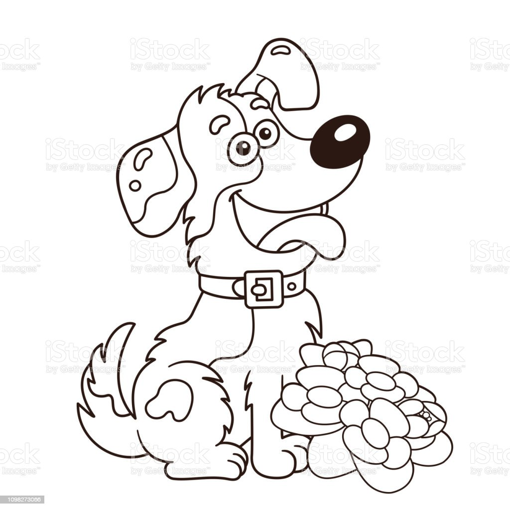 Coloring page outline of cartoon dog with flowers greeting card birthday valentines day coloring book for kids illustration
