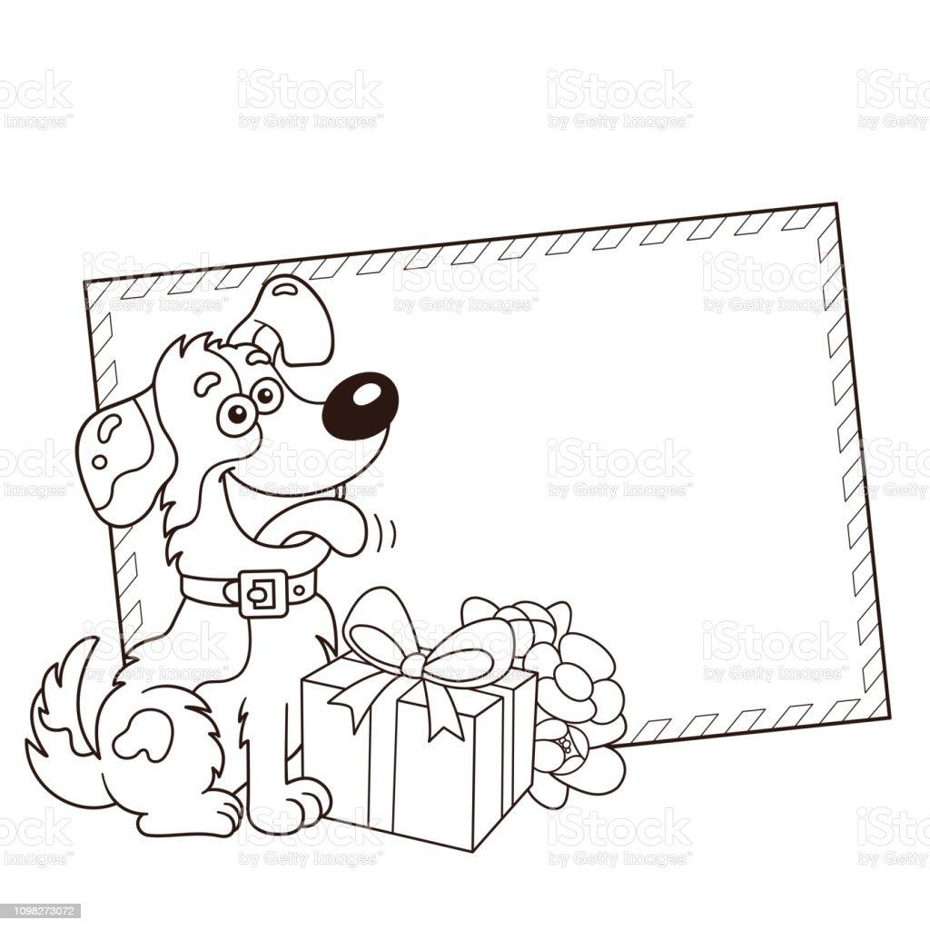 Sayfa Anahat In Karikatur Kopek Hediye Ve Cicek Boyama Tebrik