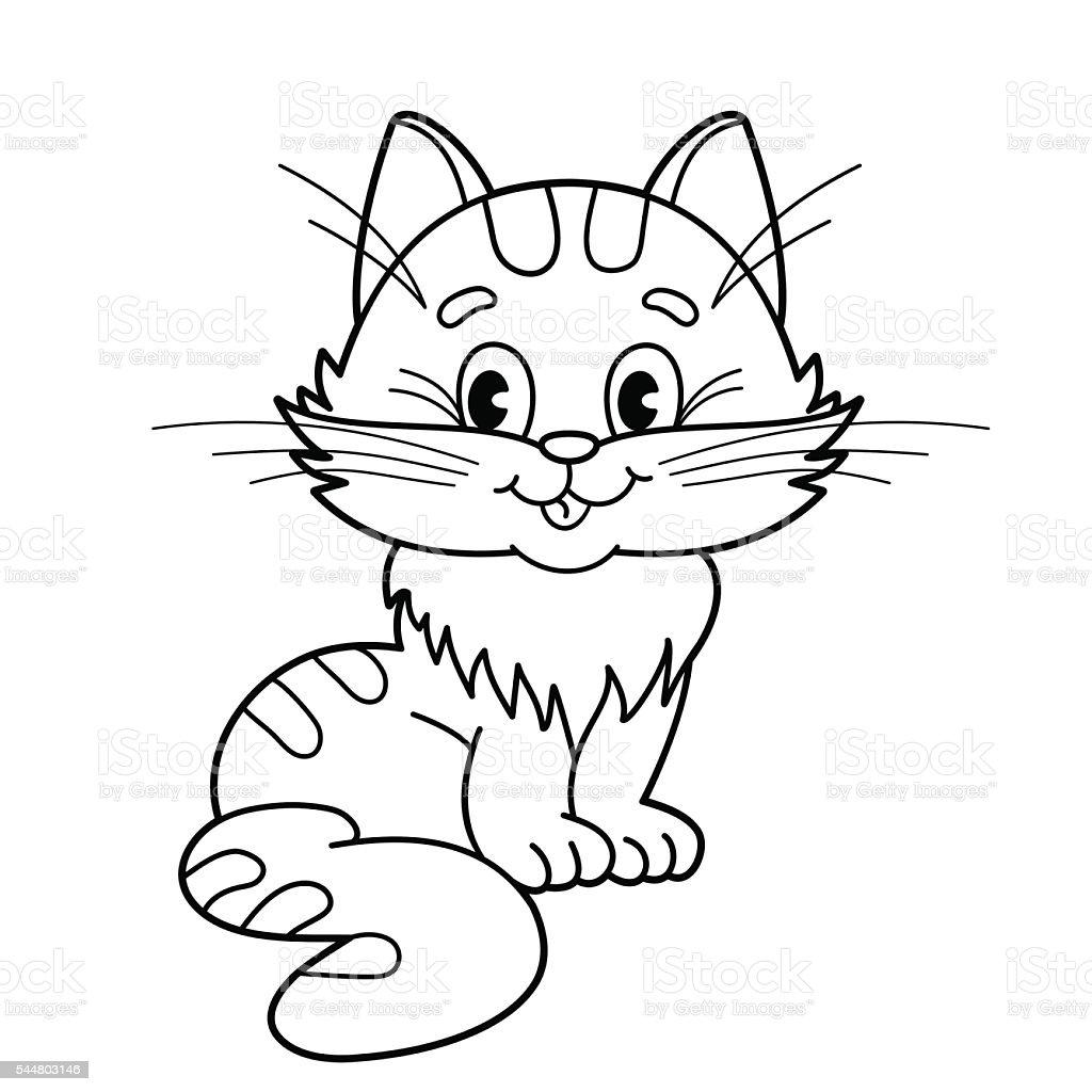 Página Para Colorear Con Contorno De Dibujos Animados Suave Gato ...