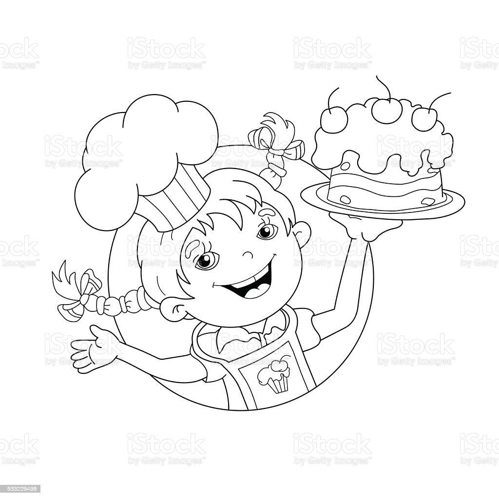 Pagina da colorare sagoma di Fumetto Ragazza con torta chef pagina da  colorare sagoma di fumetto 57d076894537