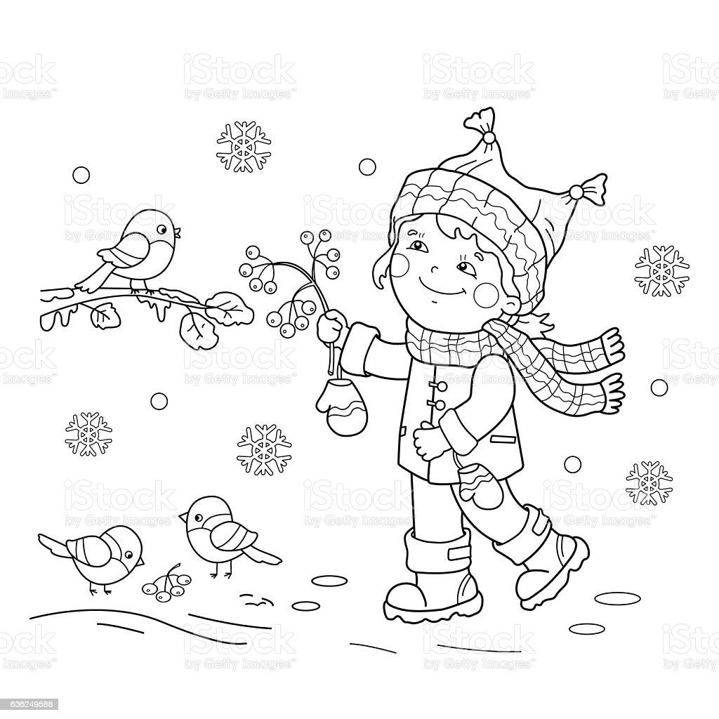 coloring page outline of cartoon feeding birds stock vector