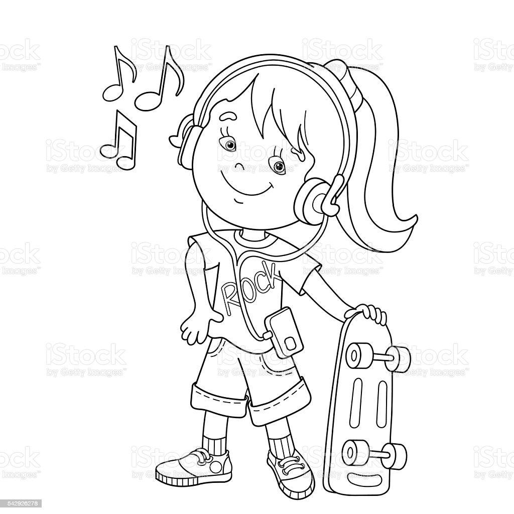Coloriage Dessin Anime Fille.Contour De Page De Coloriage De Dessin Anime Fille Dans Les