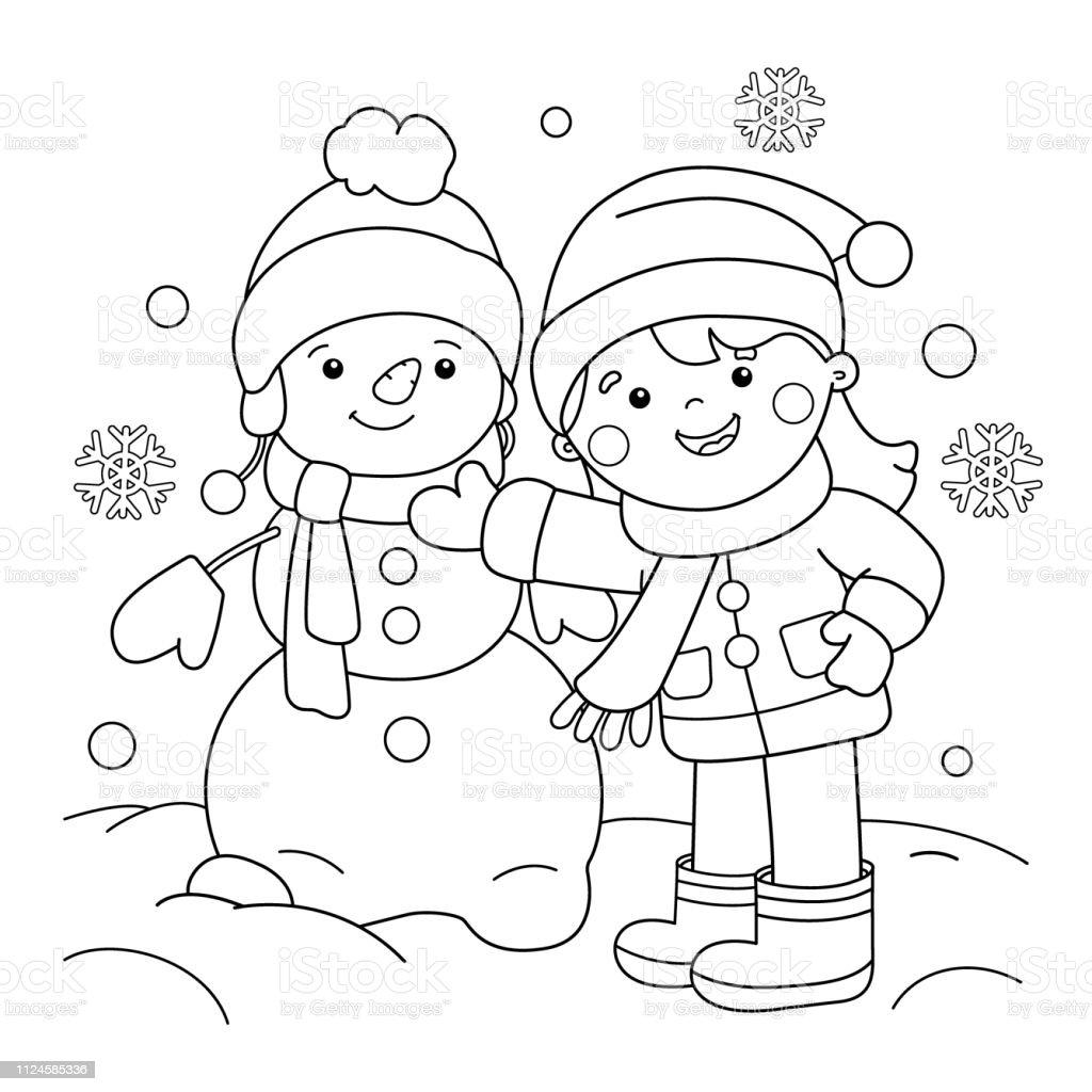 Seite Gliederung Der Cartoon Madchen Schneemann Farbung Winter Malbuch Fur Kinder Stock Vektor Art Und Mehr Bilder Von Ausmalen Istock