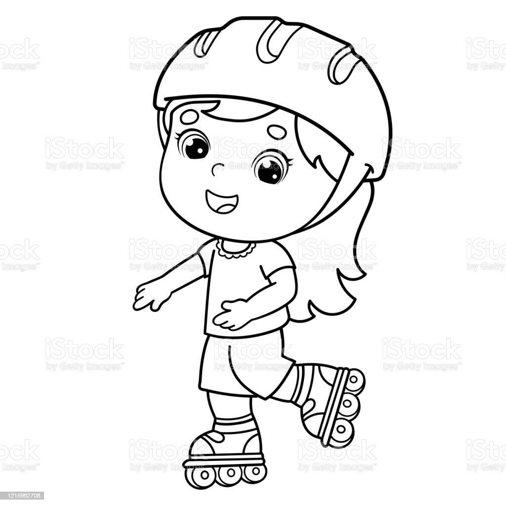 Coloring Page Outline Of Cartoon Girl On The Roller Skates