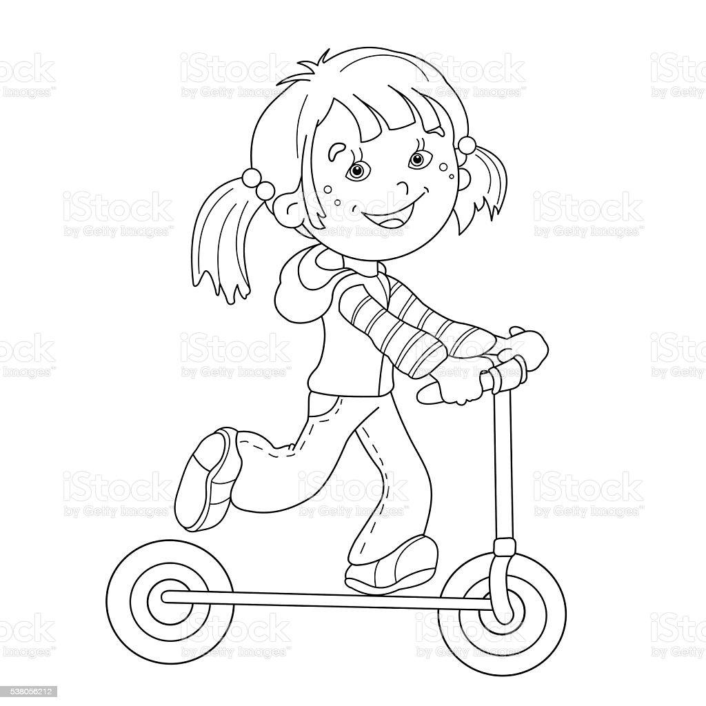 Färbung Seite Konturen Eines Cartoon Mädchen Auf Roller Stock Vektor ...