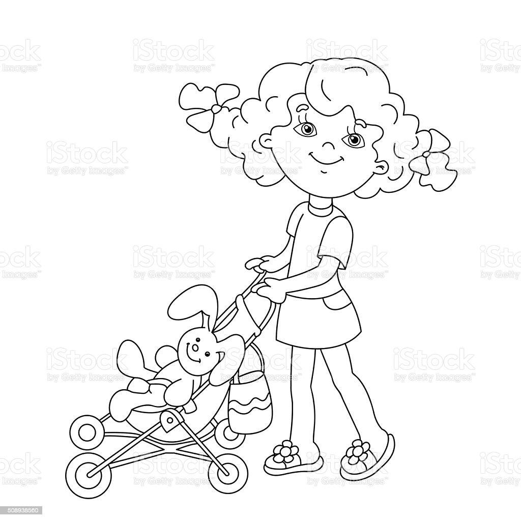 Página Para Colorear De Contorno De Dibujos Animados Niña Jugando ...