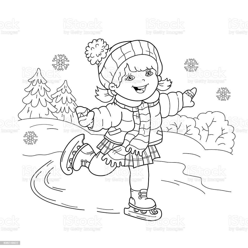 coloring page outline of cartoon skating stock vector art