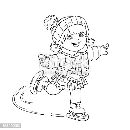 Coloring Page Outline Of Cartoon Girl Skating Stock Vector