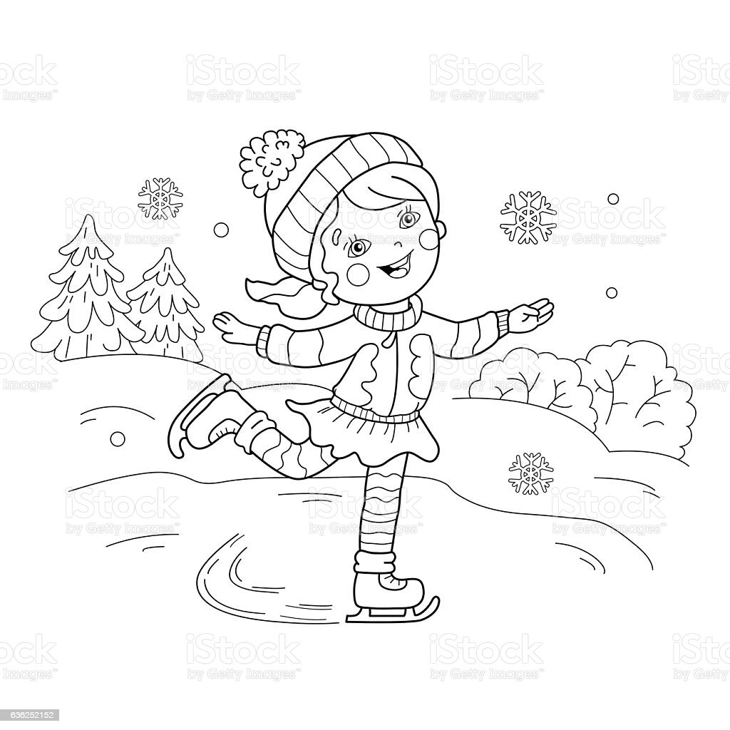 coloring page outline of cartoon girl skating royalty free stock vector art