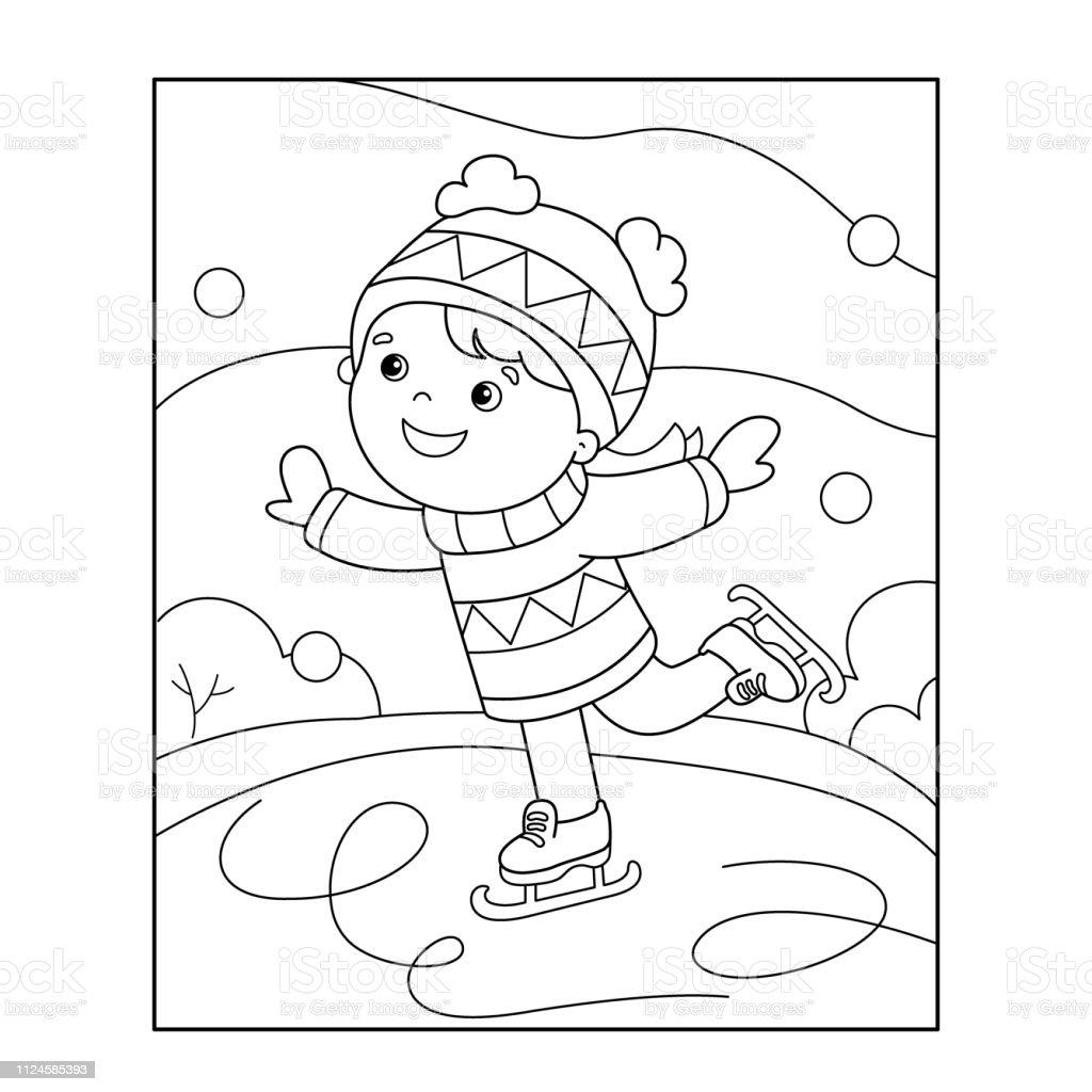 Buz Pateni Boyama Sayfa Anahat Karikatur Kiz Kis Sporlari Cocuklar
