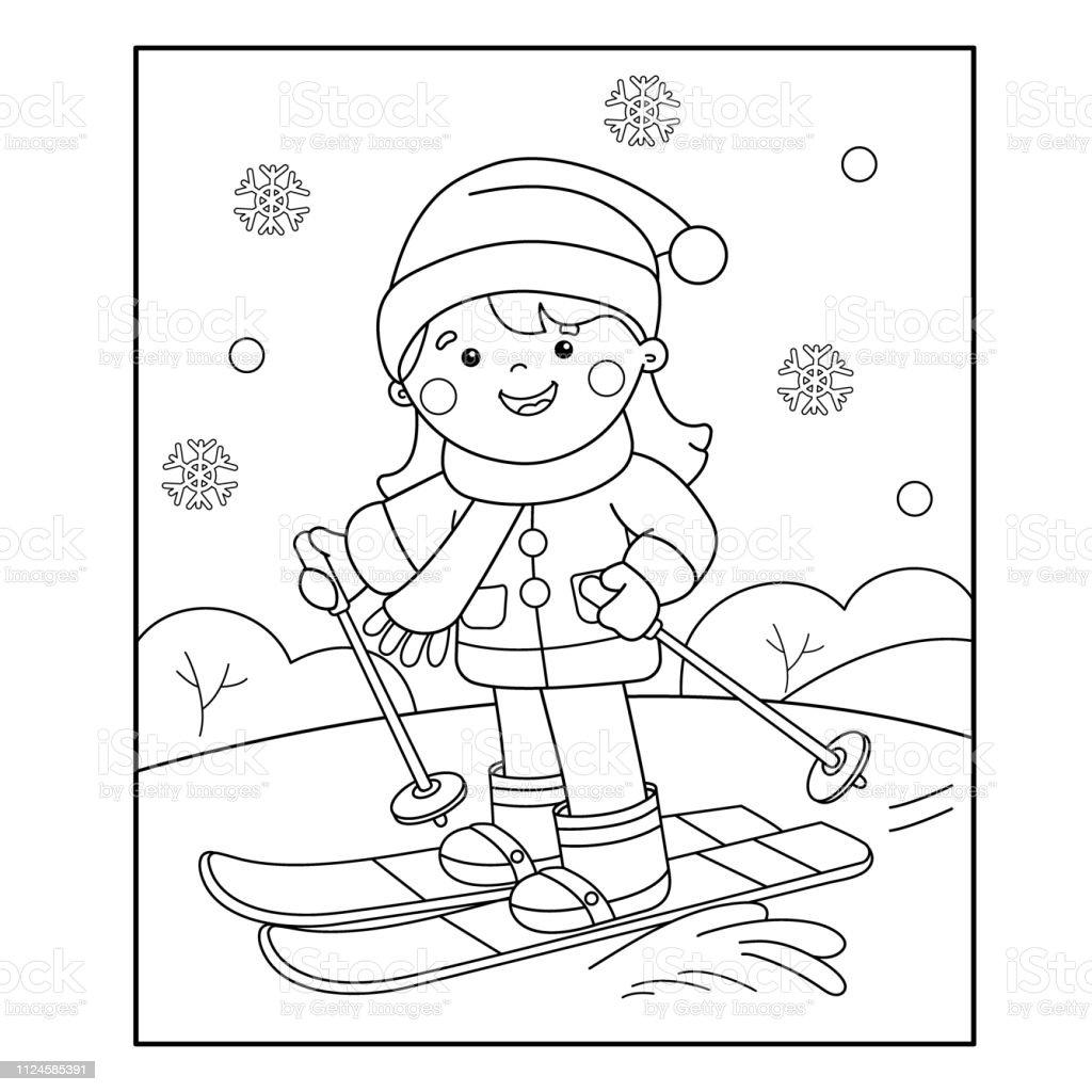 Kayak Boyama Sayfa Anahat Karikatur Kiz Kis Sporlari Cocuklar Icin