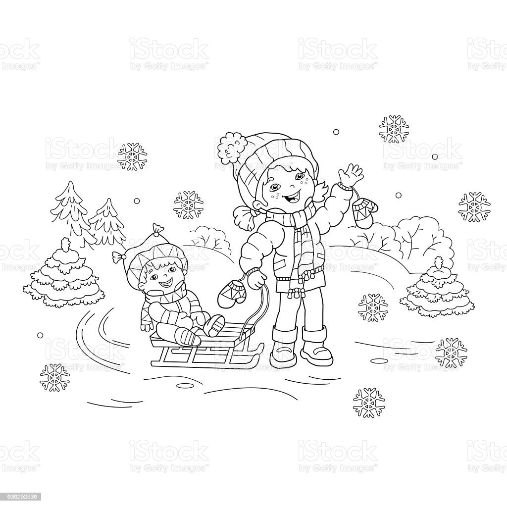 Coloring Page Outline Of Cartoon Girl With Brother Sledding ...