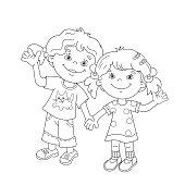 ... Pagina da colorare sagoma di Fumetto ragazza tiene le mani ... b80a41226b0f