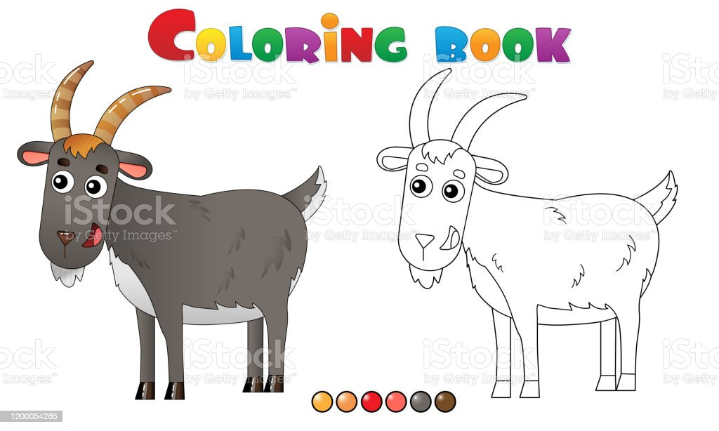 - Coloring Page Outline Of Cartoon Goat Farm Animals Coloring Book For Kids  Stock Illustration - Download Image Now - IStock