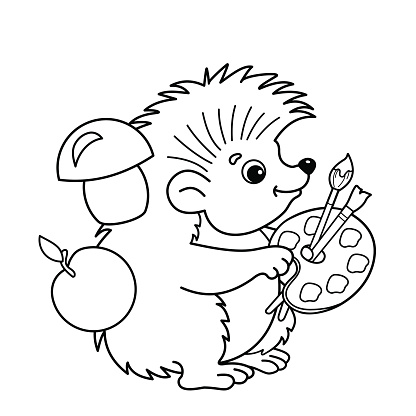Coloring Page Outline Of Cartoon Hedgehog With Brushes And ...