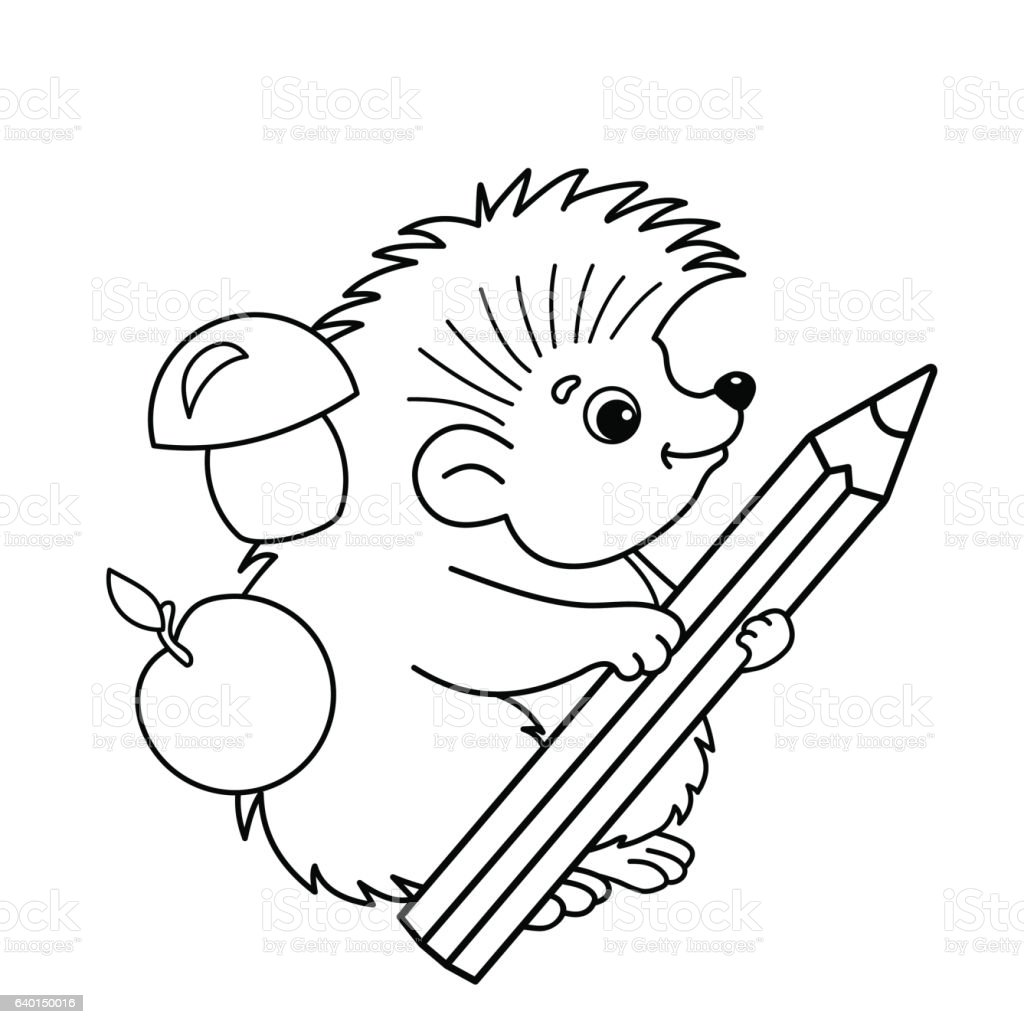 Coloring Page Outline Of Cartoon Hedgehog With Pencil