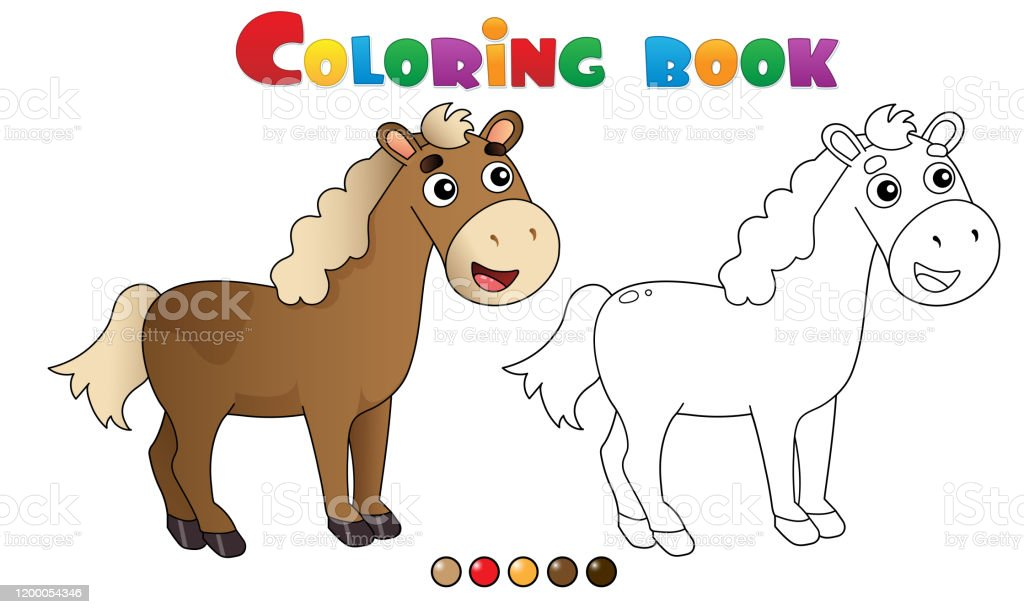 Coloring Page Outline Of Cartoon Horse Farm Animals Coloring Book For Kids Stock Illustration Download Image Now Istock