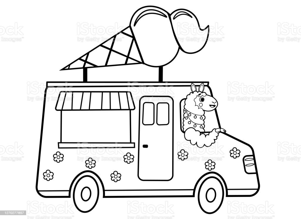 - Coloring Page Outline Of Cartoon Ice Cream Truck With Animal Vector Image  On White Background Coloring Book Of Transport For Kids Stock Illustration  - Download Image Now - IStock