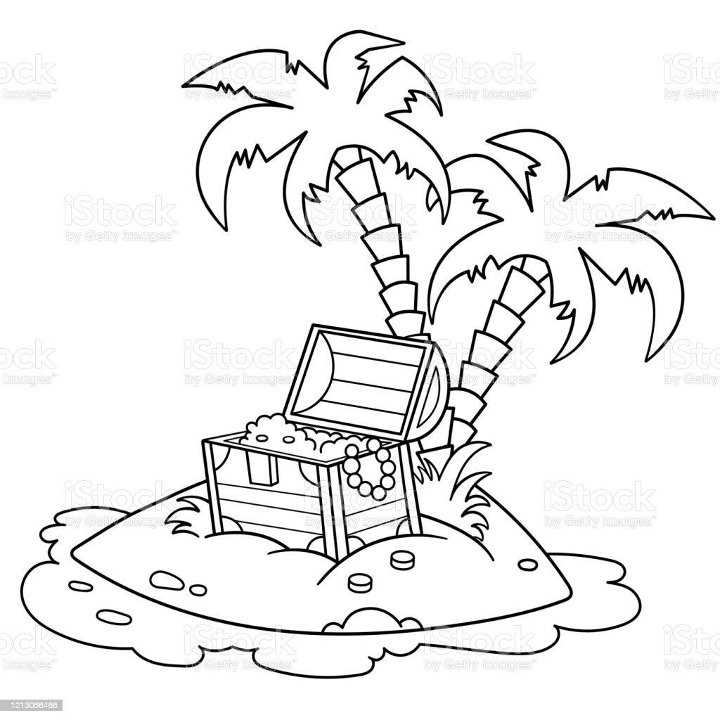 Vetores De Desenho De Pagina De Coloracao Da Ilha Do Tesouro Livro