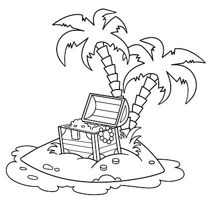 Ilustración de Coloreación Página Esquema De La Isla De ...