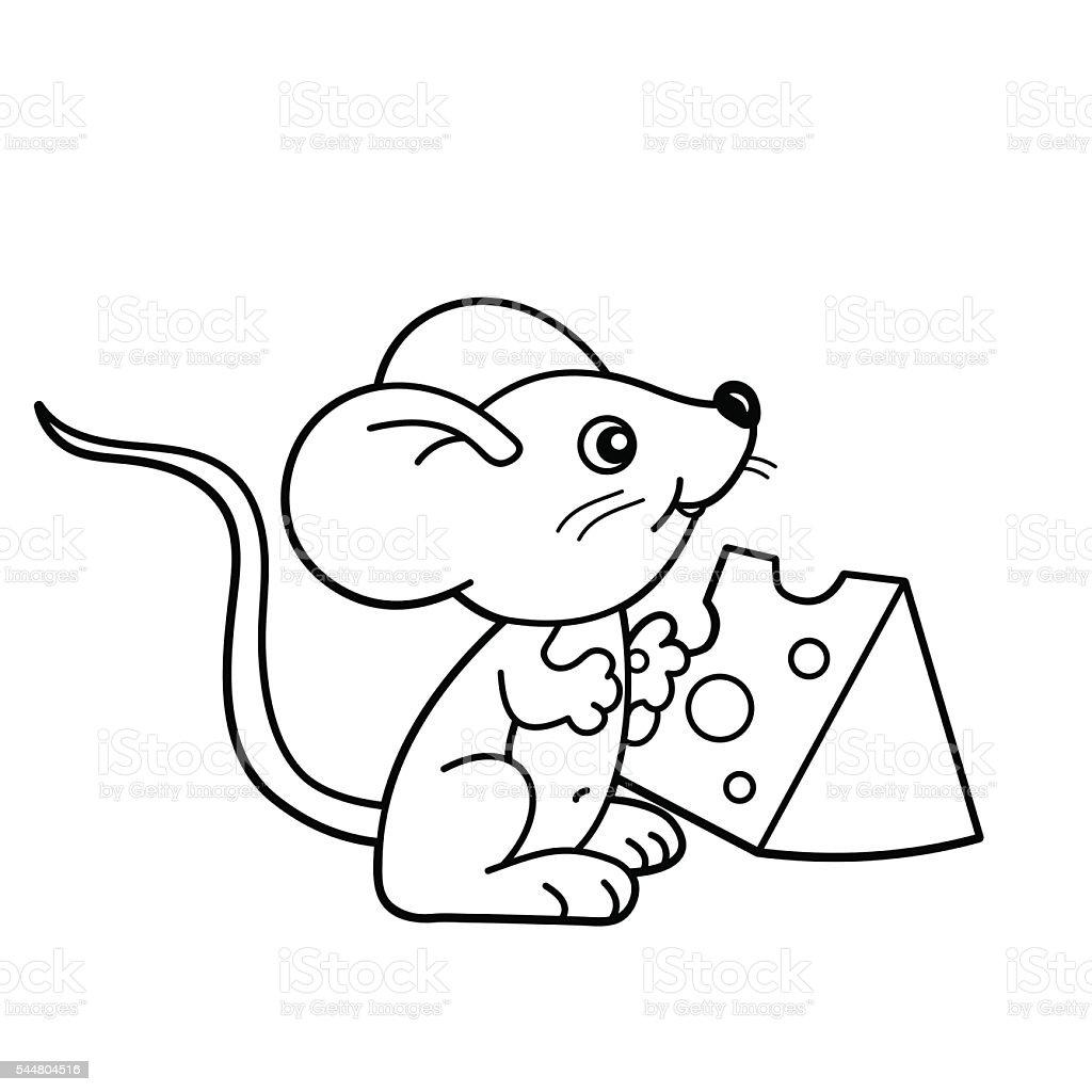 Contour de Page de coloriage de dessin animé souris avec fromage petite contour de page de