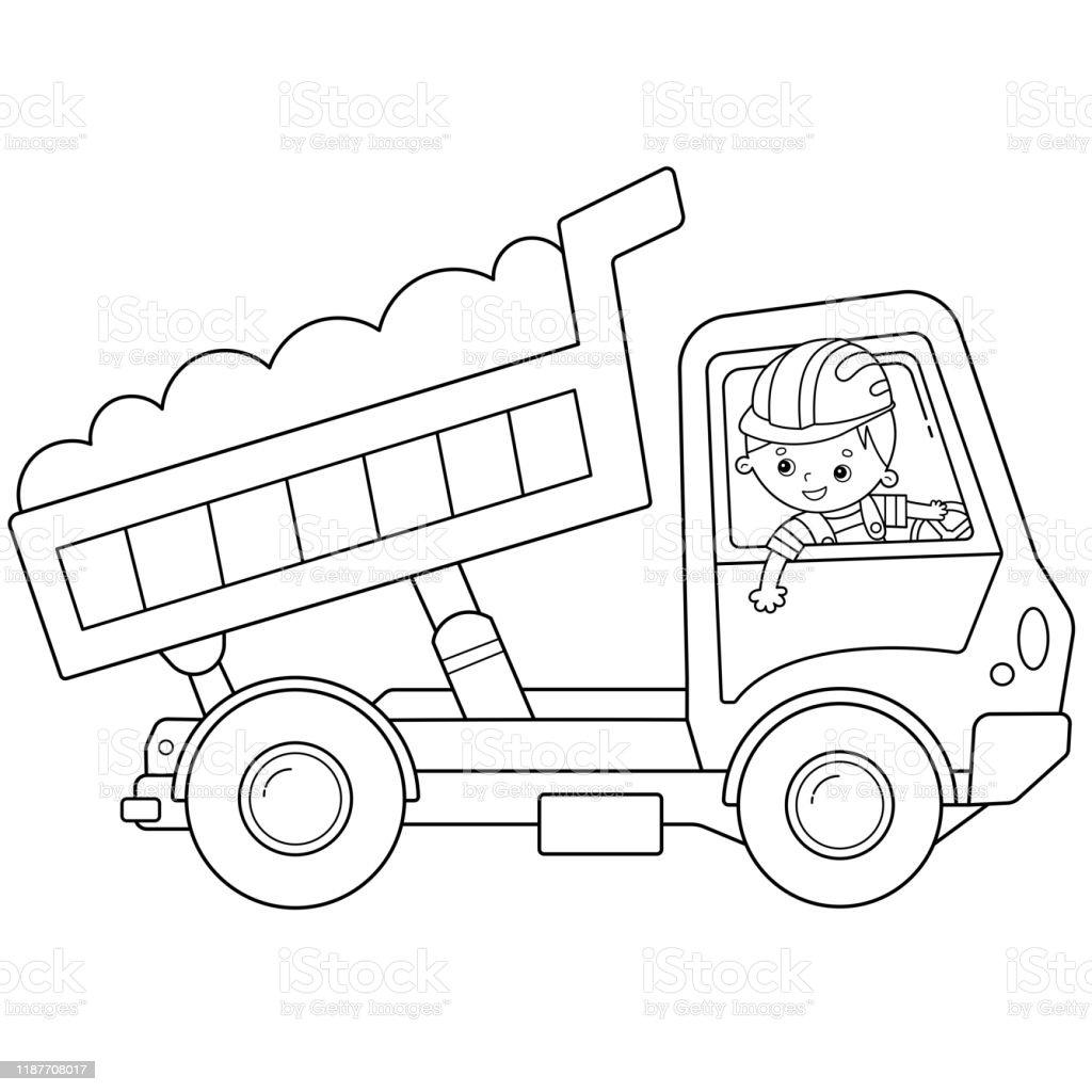 Kleurplaat Pagina Omtrek Van Cartoon Vrachtwagen Of Dump Truck Bouw Voertuigen Kleurboek Voor Kinderen Stockvectorkunst En Meer Beelden Van Activiteit Istock